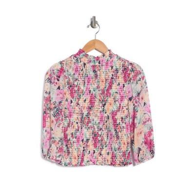 ソーシャライト レディース シャツ トップス Floral Mock Neck Smocked 3/4 Sleeve Top IVORY PINK