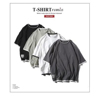 メンズ春夏Tシャツ カットソー トップス トレーナー フェイクレイヤード 半袖 丸首 カジュアル ゆったり
