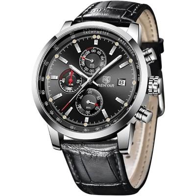 Mens Watch  BENYAR Watches Men  Quartz Watch  Wrist Watch  Analog Chronograph Casual Sport Leather Strap Watches for Men 並行輸入品