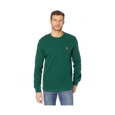 U.S. POLO ASSN. USポロ メンズ 男性用 ファッション Tシャツ Long Sleeve Crew Neck Solid Thermal Shirt - Forest Peak