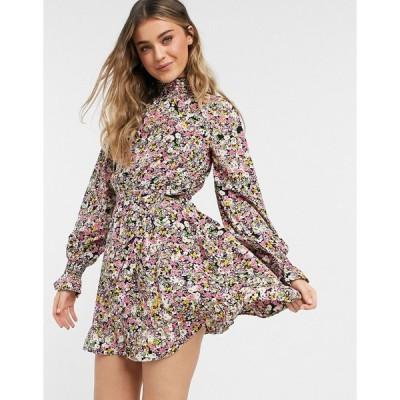 インフルエンス ミディドレス レディース Influence high neck mini dress with tie waist in floral print  エイソス ASOS sale マルチカラー