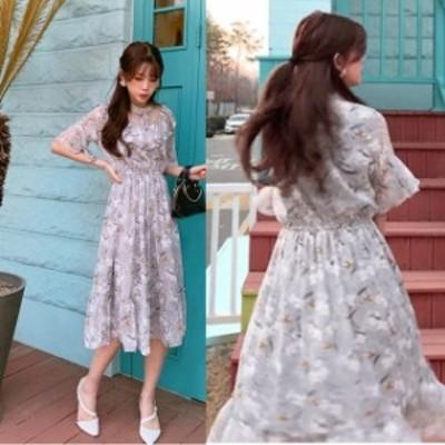 結婚式 ドレス パーティードレス お呼ばれ ワンピース 二次会 ドレス 半袖 フレア袖 花柄 フリル 透け感 小さいサイズ