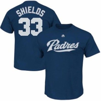 Majestic マジェスティック スポーツ用品  Majestic James Shields San Diego Padres Navy Official Name and Number T-Sh