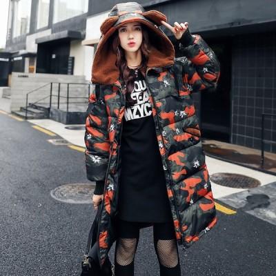 アウター コート 中綿コート ロングコート 迷彩 きれいめ 可愛い 上品 カジュアル 防寒 暖かい 耳付き Good Clothes