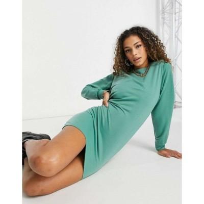 ミスガイデッド ミディドレス レディース Missguided sweater dress with shoulder pads in green エイソス ASOS グリーン 緑