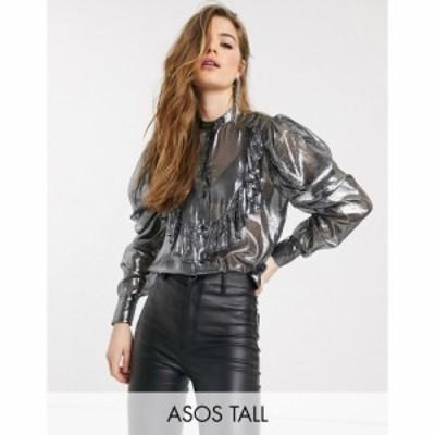 エイソス ASOS Tall レディース ブラウス・シャツ トップス ASOS DESIGN Tall metallic blouse with ruffle front シルバー