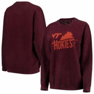 Pressbox プレス ボックス スポーツ用品  Pressbox Virginia Tech Hokies Womens Maroon Comfy Cord Corduroy Crewneck Sweatshirt