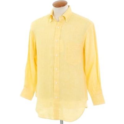ユナイテッドアローズ UNITED ARROWS リネン ボタンダウン カジュアルシャツ イエロー 38