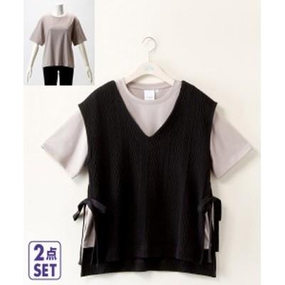Tシャツ カットソー 大きいサイズ レディース 2点セット ケーブル脇リボン ベスト + nanoca ベージュ+アイボリー/黒+ベージュ/茶+ア