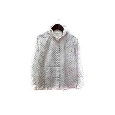 【中古】ニーム NIMES シャツ ブラウス 長袖 ドット 白 ホワイト /YI  レディース 【ベクトル 古着】