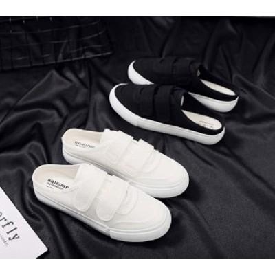 サンダル レディース ヒール 履きやすい 婦人靴 かかとなし スニーカー サボ 白 サンダルスニーカー