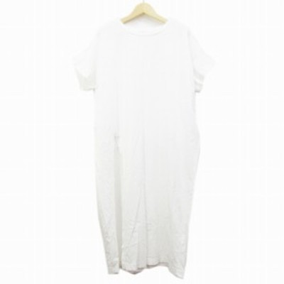 【中古】ジャーナルスタンダード JOURNAL STANDARD NEU Tシャツ ワンピース 半袖 ロング丈 丸首 スリット (L相当) 白