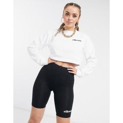 エレッセ レディース シャツ トップス ellesse cropped sweatshirt & legging shorts set in white/black