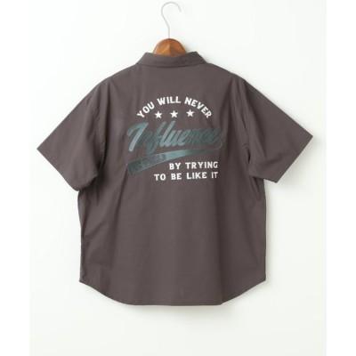 ダブルネーム DOUBLE NAME 半袖BACK刺繍シャツ (スミクロ)