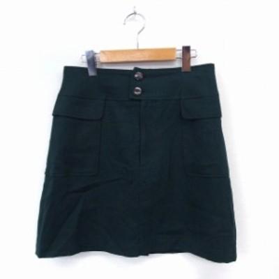 【中古】ルージュヴィフ Rouge vif スカート 台形 膝丈 ポケット シンプル ウール 38 グリーン /ST21 レディース