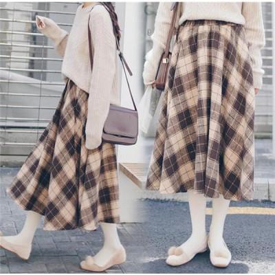スカート レディース 秋 冬 厚手 チェック柄 体型カバー ロングスカート ハイウエスト 人気
