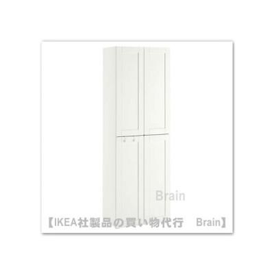 IKEA/イケア SMASTAD/スモースタード ・PLATSA/プラッツァ ワードローブ/ハンガーレール2本付き60x57x181 cm ホワイト/縁付きホワイト