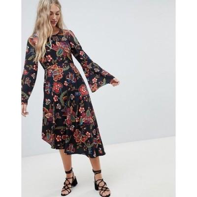 ヴェロモーダ レディース ワンピース トップス Vero Moda floral asymmetric hem dress Bright floral