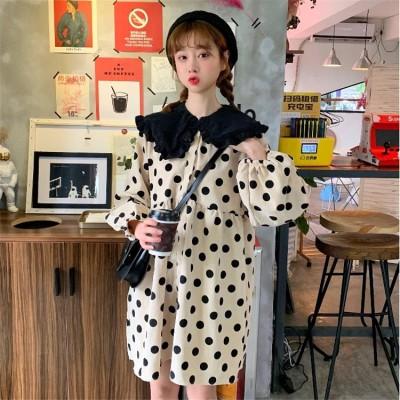 2019新しい 日本の甘い コーデュロイ   波の点  人形の襟  伸縮性ウエスト スリム  ワンビース sweet系