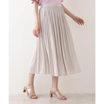 [洗える]割繊ギャザースカート グレージュ3