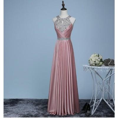 パーティードレス 二次会ドレス お花嫁ドレス レース ロングドレス ウエディングドレス キラキラ セクシー エンパイア