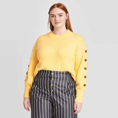 フー ワット ウェアー Who What Wear レディース ニット・セーター 大きいサイズ トップス Plus Size Crewneck Pullover Sweater - Yellow