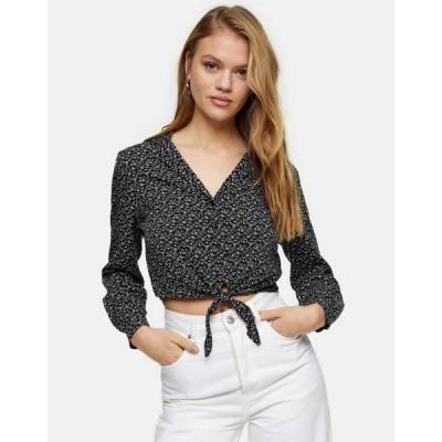 トップショップ Topshop レディース ベアトップ・チューブトップ・クロップド トップス tie front cropped blouse in floral ditsy print