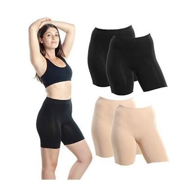 Emprella 5枚パック スリップショーツ ドレス下用 レディース シームレス バイクショーツ US サイズ: Large カラー: ブラック