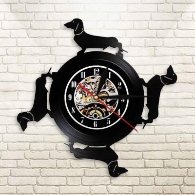 壁掛け時計 レコード盤 インテリア ダックスフント 犬 わんちゃん ヴィンテージ