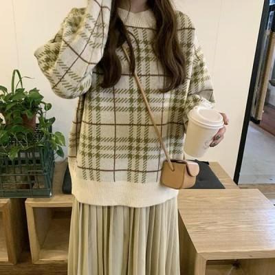 レディース ニット/セーター kn0337 obi check knit