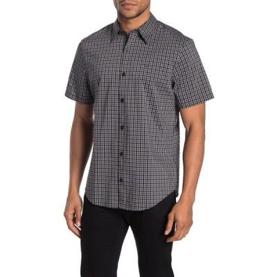 カルバンクライン メンズ シャツ トップス Short Sleeve Plaid Print Regular Fit Shirt BLACK