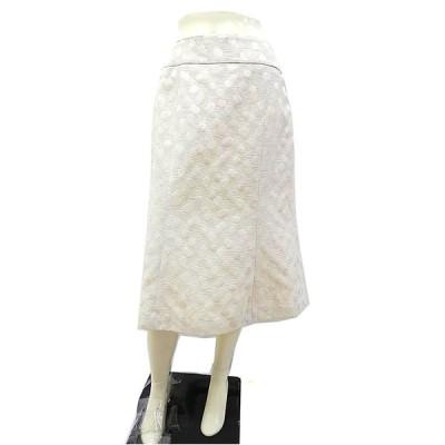 【中古】【新古品】Beedoro ビードロ スカート ミディ丈 台形 レディース サイズM〜L ホワイト ミセス