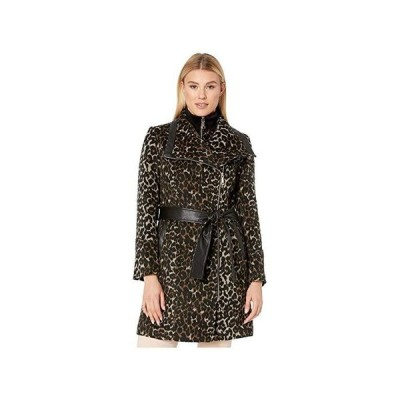 Vince Camuto Belted Asymmetrical Zip Wool Coat with Bib V29763A レディース コート アウター Leopard