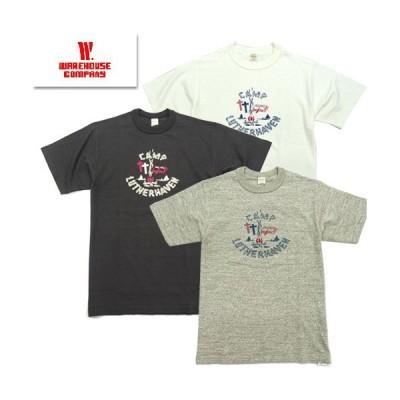 【1枚までレターパック対応】  WAREHOUSE ウエアハウス 4601 「CAMP LUTHERHAVEN」 Tシャツ 半袖 TEE ヴィンテージ プリント ミリタリー