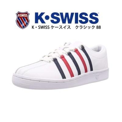 ケースイス 靴 スニーカー クラシック 88 ホワイト/ドレスブルー/リボンレッド オールレザー ローカット メンズスニーカー 紳士 メンズ