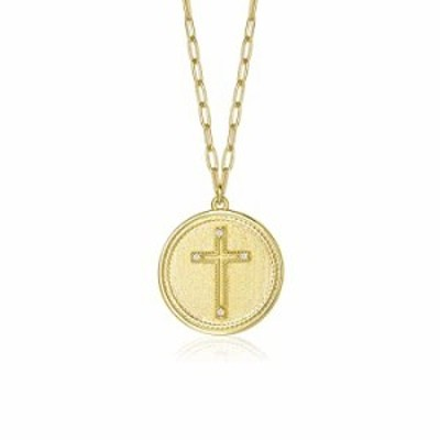 AGVANA Cross Coin Pendant Necklace for Women 14K Yellow Gold Plated Sterling Silver Paperclip Chain Fashion Jewelry for Girls 16