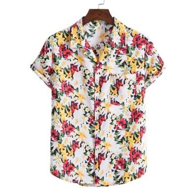 メンズ 半袖シャツ カジュアル 花柄 スタイリッシュ アロハシャツ リゾート 定番 涼しい メンズファッション