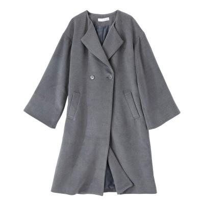 【大きいサイズ】 ノーカラーワイドスリーブコート コート, plus size coat