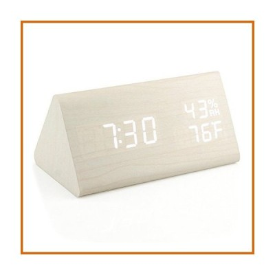 LED 時計 Oct17 木製目覚まし時計 木製LEDデジタル卓上時計 2018年バージョン 時間温度調節 明るさ調節可能