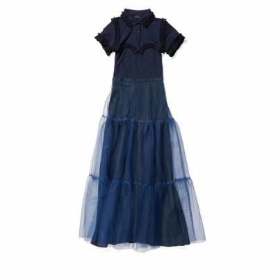 ロック ワンピース トップス レディース Frill Polo Dress w/ Tulle Skirt Navy