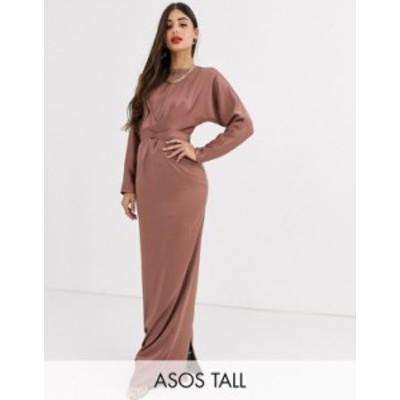 エイソス レディース ワンピース トップス ASOS DESIGN Tall maxi dress with batwing sleeve and wrap waist in satin Mink