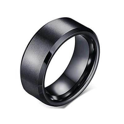 特別価格Stainless Steel Matte Brushed Classic Simple Plain Wedding Band Ring (Black好評販売中