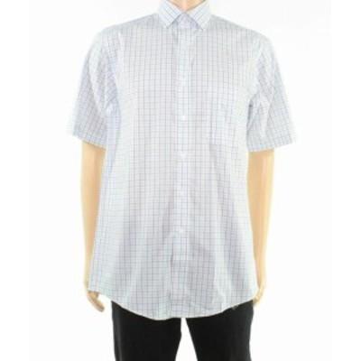 Plaid  ファッション ドレス Club Room Blue Mens Dress Shirt Size 18 1/2 Plaid Print Regular Fit