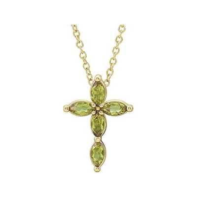 [新品]Solid 14k Yellow Gold Peridot Cross Crucifix Charm Pendant Chain Necklace (
