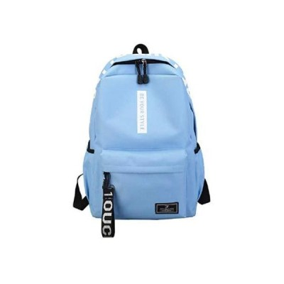 イルメゾン リュックサック 大容量 5ポケット ビッグ ロゴ ストラップ 付き 調節可能 肩ベルト ナイロン 素材 (ライトブルー)