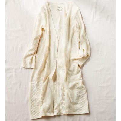 Live love cottonプロジェクト やわらか素材が気持ちいい 柄編みが素敵なオーガニックコットンカーディガン〈アイボリー〉 リブ イン コンフォート フェリシモ FELISSIMO