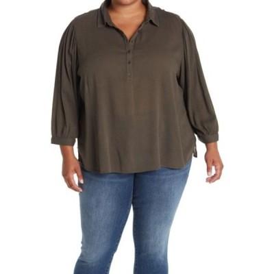 カスロン レディース シャツ トップス Gauze Henley Tunic Top (Plus Size) GREY BELUGA