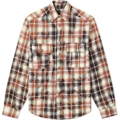 ラスベート PACCBET メンズ シャツ トップス Bleached Check Shirt Brown