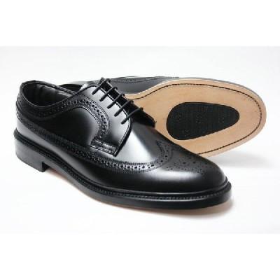 British Classic 本革 革底 革靴 3E 高級ビジネスシューズ メンズ ブリティッシュクラシック ウィングチップ 5156 ブラック 紳士靴(24cm〜27cm)