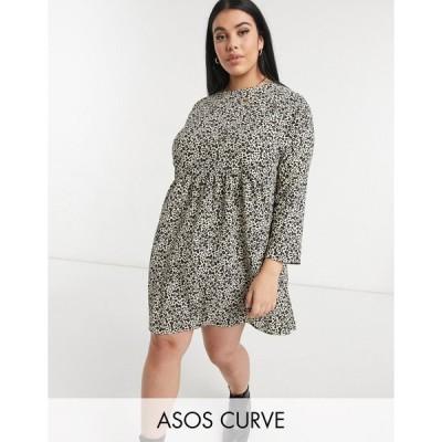 エイソス ドレス 大きいサイズ レディース ASOS DESIGN Curve long sleeve smock mini dress in animal print エイソス ASOS